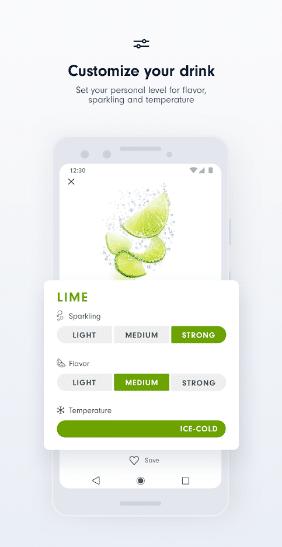 Soda stream app, customising drink